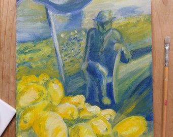Original Acrylic Painting entitled Lemon Seller, box canvas ready to hang