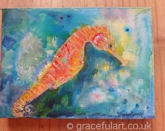 Original Acrylic Seahorse Painting, box canvas ready to hang