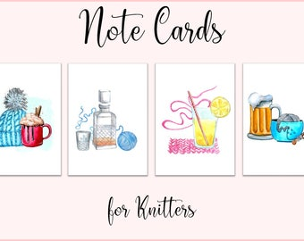 Note Cards / Greeting Cards / Gift Cards / Gift Enclosures / cards for knitters / set of 4 / beer, hot chocolate, whiskey, lemonade