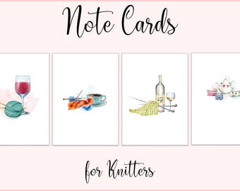 Note Cards / Greeting Cards / Gift Cards / Gift Enclosures / cards for knitters / set of 4 / red wine, white wine, coffee, tea
