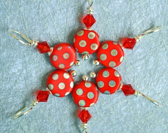 Red Hot Dots stitch markers / knitting markers / Sterling Silver, Swarovski crystal & Czech Glass / snag free