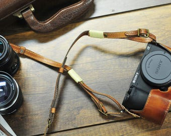 SONY A6500 leather half case and strap set