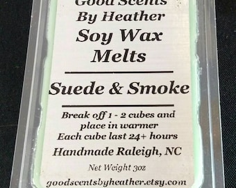Suede and Smoke 3oz Soy Tarts - Wickless Candles - Stocking Stuffer - Teacher Gift - Hostess Gift