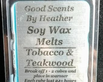 Tobacco Teakwood 3oz Soy Tarts - Wickless Candles - Stocking Stuffer - Teacher Gift - Hostess Gift