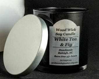 White Tea & Fig -  Soy candle - Silver Lid - reusable black tumbler glass