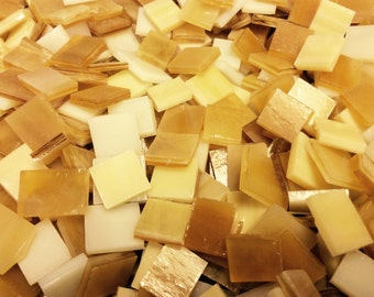 100 GOLDEN CARAMEL & CREAM Mix - Stained Glass Mosaic Tile Supply B36