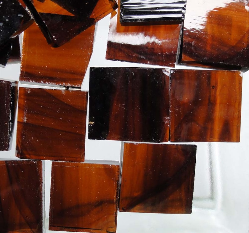 ROOT BEER SMOOTH Dark Amber Streaky Mosaic Stained Glass Tiles A14