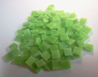 "100 1/4"" LEMONGRASS LIME Green Opal Tiny Tiles Stained Glass Mosaic T8"