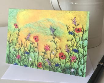 Sunset Poppies Printed Greetings Card