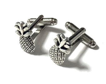 Silver Pineapple Cufflinks, Men's Welcome Hospitality Tropical Fruit Pina Ananas Cuff Links- Groom Wedding Guy Prom Mans Gift