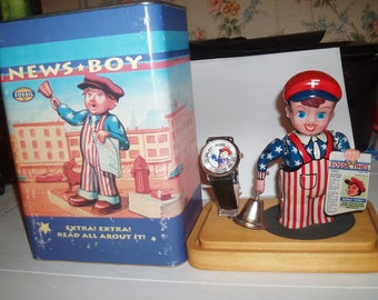 News Boy windup toy with watch by Fosill