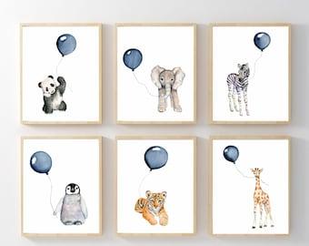 Nursery prints set, Navy nursery, boys wall art, baby boy nursery, watercolor nursery, baby animal art, safari nursery prints,