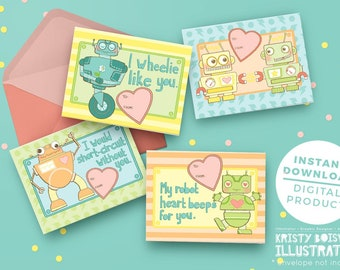 Robots Need Love Too - Valentine's Day - Printable Valentine's Day card - Adorable Dinosaurs - Instant Download