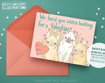 Llamas Llove Valentine's Day - Set of 4 - Printable Valentine's Day card - Adorable Dinosaurs - Instant Download