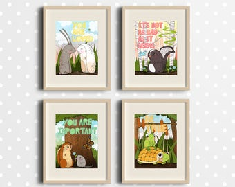 "Art Print Set of 4 ""Woodland Animals"" - Valentine's Day - Nursery - Instant download - cute animals - Inspirational Quotes"
