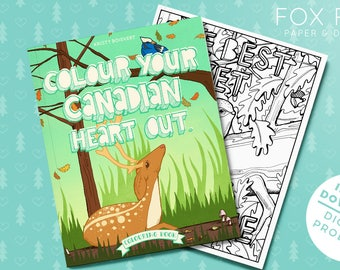 "Colouring Book ""Colour Your Canadian Heart Out"" - colouring for adults and kids - instant download"