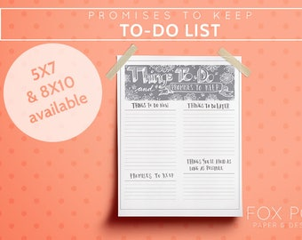 Promises to Keep To-Do list - Printable - Digital Product