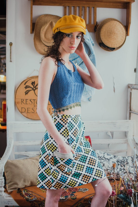 Short Pencil Skirt  Narrow Skirt  Vintage Floral Print  Grey,Pink,White,Green,Gold  Black Ribbon Trim  Handmade  Restored By Design