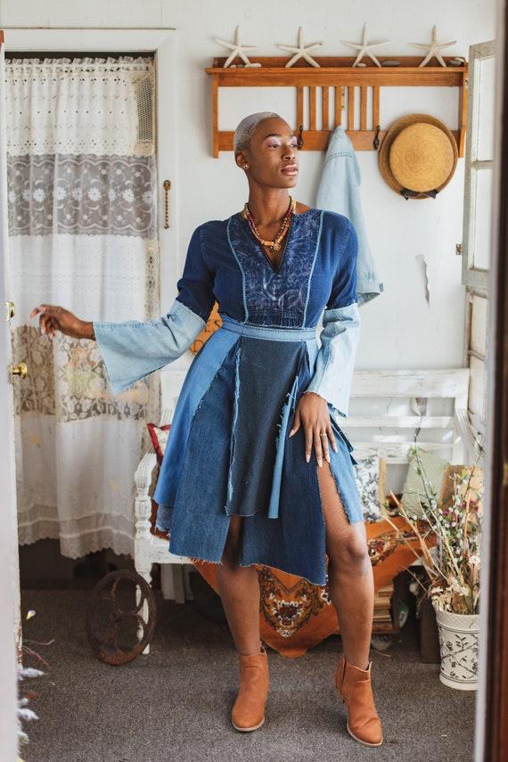 Denim Reconstructed Boho Bell Sleeves Dress