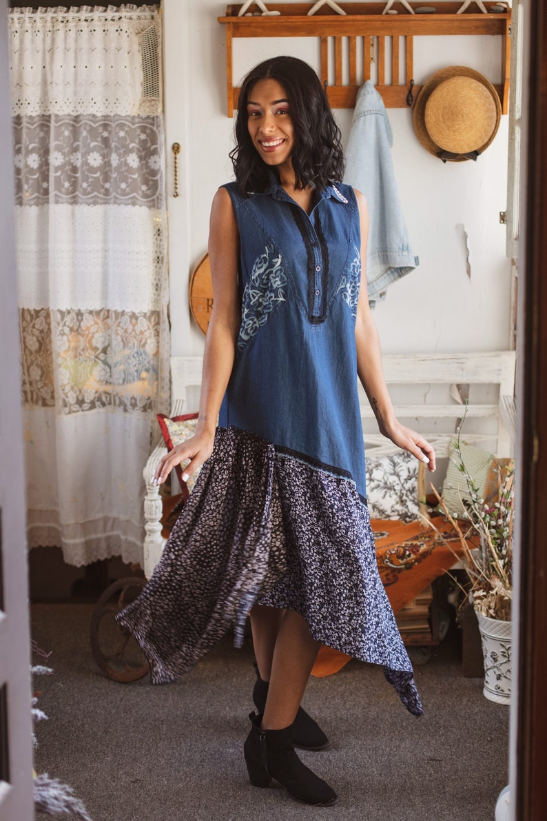 e6cef7301ab66 Repurposed Denim Sleeveless Handpainted Floral Detail Midi Dress