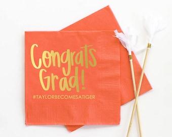 Personalized Graduation Napkins Graduation Party Supplies Personalized Beverage Napkins 2021 Graduation Decoration Ideas Grad Party Napkins