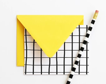 Blank Stationery Set Thank You Note Cards Colorful Stationary Black and White Grid Bridesmaid Gifts Wedding Stationery Blank Greeting Cards