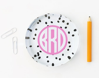 Monogram Desk Accessories Personalized Paperweight Girls Office Supplies Black White Polka Dot Monogram Glass Paperweight Teacher Gifts