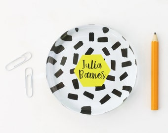 Personalized Paperweight Girls Office Supplies Black and White Yellow Desk Accessories Custom Glass Paperweight Teacher Gift  New Job Gift