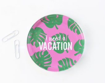 Girls Desk Accessories Tropical Palm Leaf Glass Paperweight I Need A Vacation Cute Office Supplies Monstera Leaf Paperweight Teacher Gifts