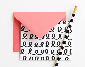 Stationary Set Blank Thank You Notes Black and White Stationery Coral Note Cards Mothers Day Gifts Blank Greeting Cards Girls Stationary