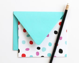 Blank Thank You Note Cards Polka Dot Stationery Set Hostess Gifts Blank Greeting Cards Colorful Girls Stationery Turquoise Blue Note Cards