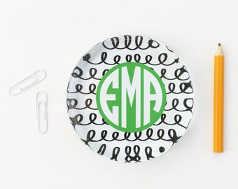 Monogram Office Supplies Personalized Glass Paperweight Girls Desk Accessories Black and White Custom Paperweight Teacher Gift New Job Gift