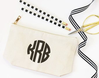 Monogram Make Up Bag Personalized Cosmetic Bag Canvas Pencil Pouch Monogram School Supplies Pencil Bag Teacher Gifts Travel Zipper Pouch