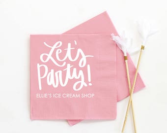 Girls 1st Birthday Party Napkins Personalized Napkins Ice Cream Shop Party Supplies and Decorations