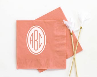 Monogrammed Napkins Personalized Cocktail Napkins for Wedding Bridal Shower Napkins Monogram Party Supplies Personalised Custom Napkins