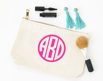 Monogram Cosmetic Bag Personalized Canvas Make Up Bag Monogram Bridesmaid Gifts Bachelorette Party Favors Bridal Party Bag Travel Pouch