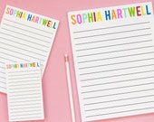 Personalized Notepad for Kids - Girls Lined Writing Paper with Envelopes - Lined Stationery Set for Girls