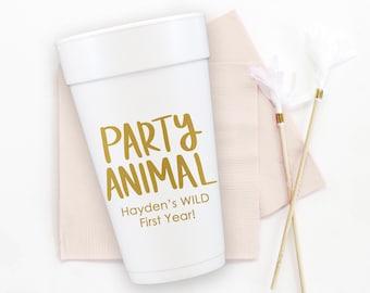 Party Animal Birthday Cups, Personalized Foam Cups, Wild 1st Birthday Party Decorations, Custom Styrofoam Cups