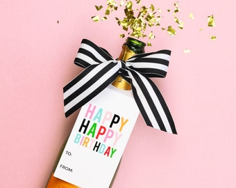 Happy Birthday Wine Tags Last Minute Birthday Gift Personalized Wine and Spirits Gift Tag Wine Bottle Gift Ideas