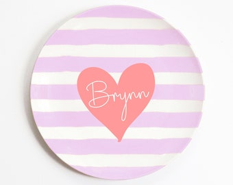 Melamine Kids Dinnerware Girls Custom Hearts Valentine Day Gift Plate Set Love Hearts Melamine Plate and Placemat Personalized Dish Set