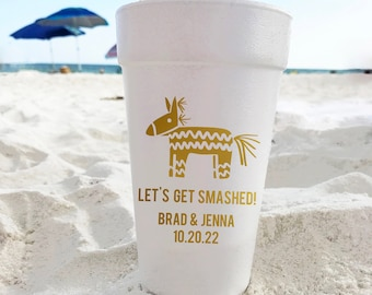 Fiesta Wedding Cups, Personalized Styrofoam Cups, Custom Fiesta Foam Cups, Destination Wedding Favors