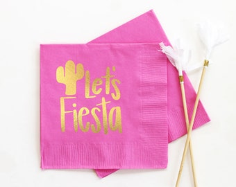 Fiesta Napkins Birthday Party Cocktail Napkins Mexican Themed Napkins Lets Fiesta Party Supplies Cactus Napkins Cinco de Mayo Decorations