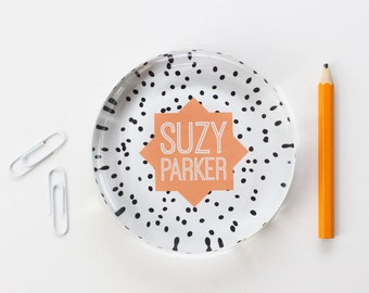 Personalized Office Supplies Paperweight Black and White Polka Dot Custom Paper Weight Peach Dorm Room Decor New Job Gift De