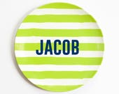 Personalized Plates for Boys Kids Melamine Plate Custom Child's Plate Boy Birthday Plate Personalized Dinnerware for Kids Striped Name Plate