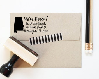 Personalized Return Address Stamp New Home Weve Moved Change Of Rubber Moving Announcement State Silhouette
