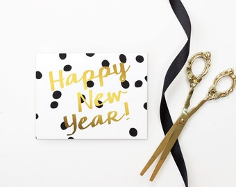 happy new year cards personalized 2019 new years card boxed set faux gold foil new year card holiday cards