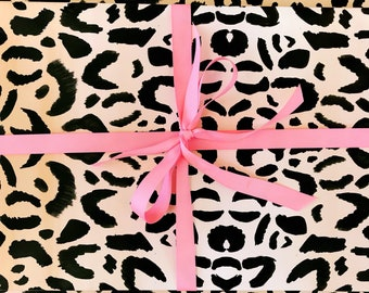 Leopard Print Wrapping Paper Animal Print Gift Wrap Cheetah Print Wrapping Paper Rolls Girly Birthday Gift Wrap Hand Illustrated