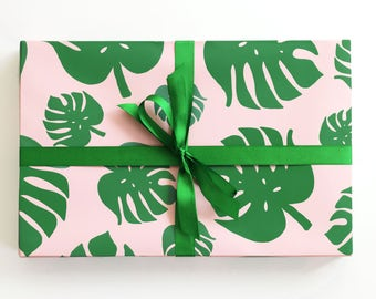 Tropical Palm Leaf Wrapping Paper Monstera Leaf Gift Wrap Summer Birthday Wrapping Paper Rolls Tropical Wedding Gift Wrap Pink and Green