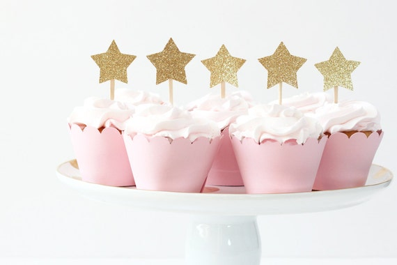 Gold Glitter Star Cupcake Toppers Girls First Birthday Party
