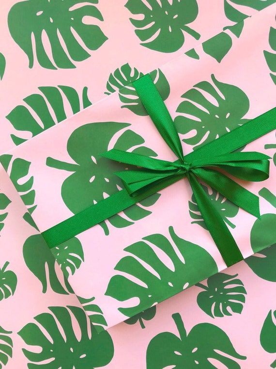 tropical palm leaf wrapping paper monstera leaf gift wrap etsy